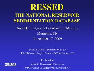 RESSED THE NATIONAL RESERVOIR SEDIMENTATION DATABASE