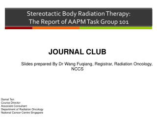 Stereotactic Body Radiation Therapy:  The Report of AAPM Task Group 101