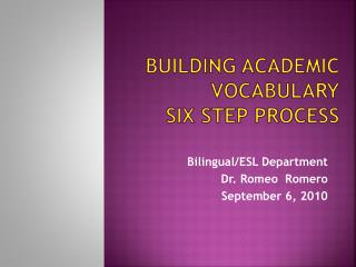 Building Academic Vocabulary Six Step Process
