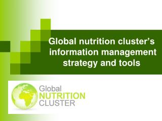 Global  nutrition cluster's  information management strategy and tools