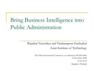 Bring Business Intelligence into Public Administration