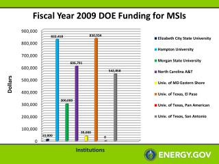 Fiscal Year 2009 DOE Funding for MSIs