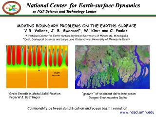 MOVING BOUNDARY PROBLEMS ON THE EARTHS SURFACE V.R. Voller+, J. B. Swenson*, W. Kim+ and C. Paola+