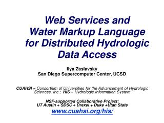 Web Services and  Water Markup Language  for Distributed Hydrologic Data Access