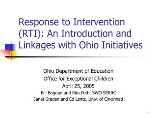 Response to Intervention (RTI): An Introduction and Linkages with Ohio Initiatives