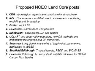 Proposed NCEO Land Core posts