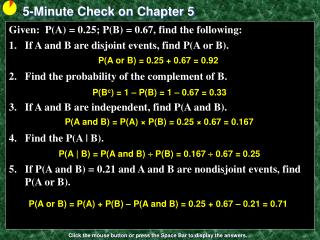 5-Minute Check on Chapter 5