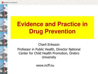 Evidence and Practice in Drug Prevention