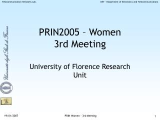 PRIN2005 – Women 3rd Meeting