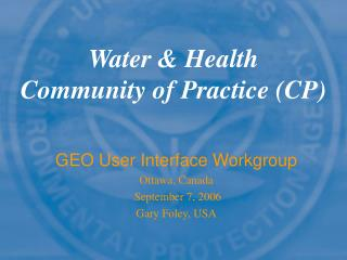Water & Health Community of Practice (CP)