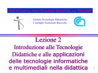 Istituto Tecnologie Didattiche Consiglio Nazionale Ricerche