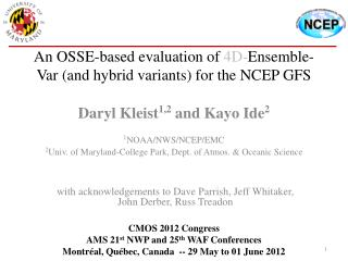 An OSSE-based evaluation of  4D- Ensemble-Var (and hybrid variants) for the NCEP GFS