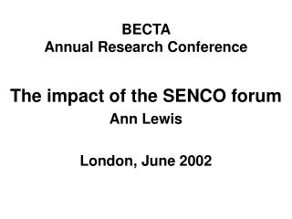 BECTA  Annual Research Conference