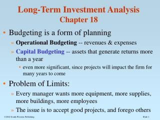 Long-Term Investment Analysis Chapter 18