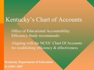 Kentucky's Chart of Accounts