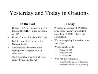 Yesterday and Today in Orations