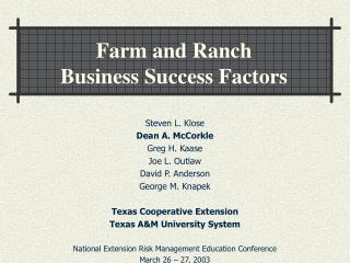 Farm and Ranch  Business Success Factors