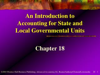 An Introduction to Accounting for State and Local Governmental Units