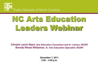 NC Arts Education Leaders Webinar