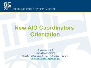 New AIG Coordinators' Orientation