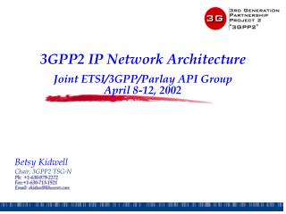 3GPP2 IP Network Architecture Joint ETSI/3GPP/Parlay API Group April 8-12, 2002