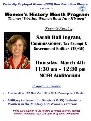 Keynote Speaker : Sarah Hall Ingram, Commissioner , Tax Exempt &  Government Entities (TE/GE)