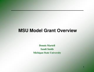 MSU Model Grant Overview