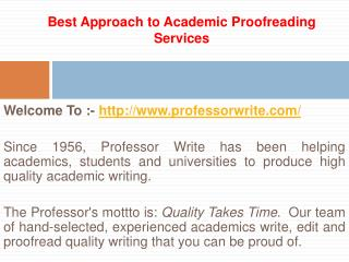Best Approach to Academic Proofreading Services