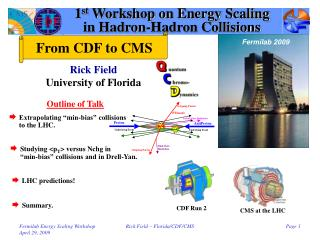 1 st  Workshop on Energy Scaling in Hadron-Hadron Collisions