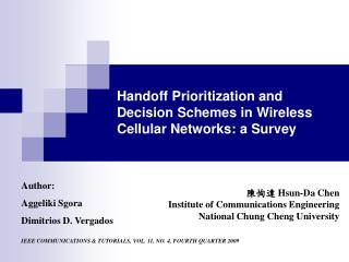 Handoff Prioritization and Decision Schemes in Wireless Cellular Networks: a Survey
