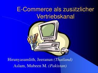 E-Commerce als zus ä tzlicher Vertriebskanal