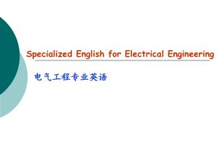 Specialized English for Electrical Engineering