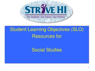 Student Learning Objectives (SLO) Resources for Social Studies