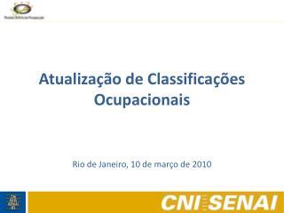 Atualização de Classificações Ocupacionais
