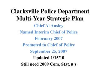 Clarksville Police Department Multi-Year Strategic Plan