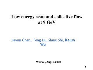 Low energy scan and collective flow  at 9 GeV