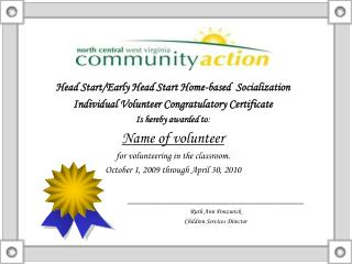 Head Start/Early Head Start Home-based  Socialization