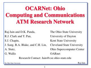 OCARNet: Ohio  Computing and Communications ATM Research Network