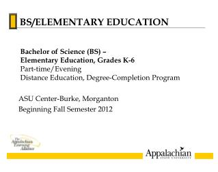 ASU Center-Burke, Morganton Beginning Fall Semester 2012