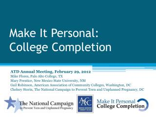 Make It Personal:  College Completion