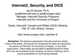 Internet2, Security, and DICE