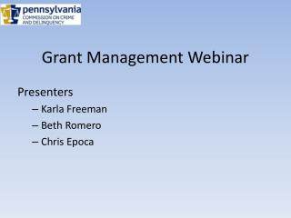 Grant Management Webinar
