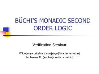 BCHI S MONADIC SECOND ORDER LOGIC