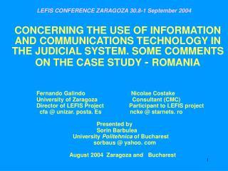 LEFIS CONFERENCE ZARAGOZA 30.8-1 September 2004