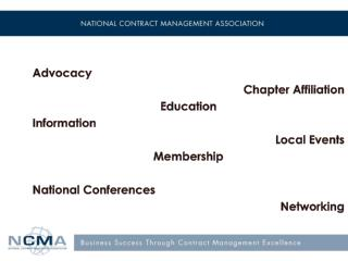 Advocacy Chapter Affiliation Education  Information Local Events Membership National Conferences