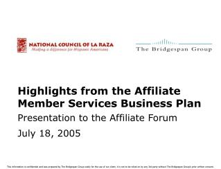 Highlights from the Affiliate Member Services Business Plan