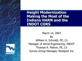 Height Modernization Making the Most of the Indiana HARN and the INDOT CORS