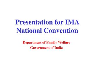 Presentation for IMA National Convention