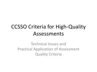 CCSSO Criteria for High-Quality Assessments
