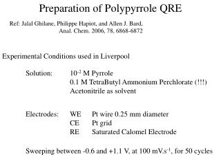 Preparation of Polypyrrole QRE